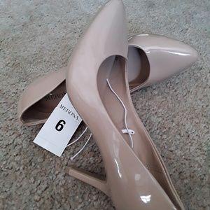 Merona tan beige patent heels pumps size 6 NWT